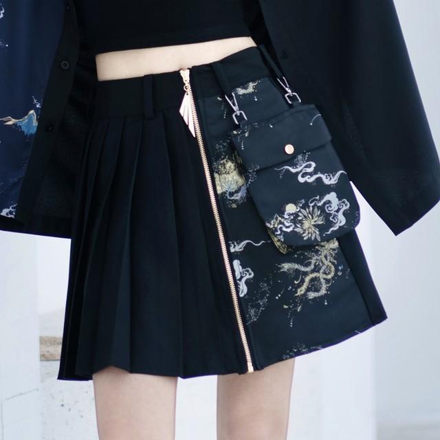 【卿棠シリーズ】★チャイナ風スカート★ ミニスカート プリーツスカート 合わせやすい 着痩せ オリジナル