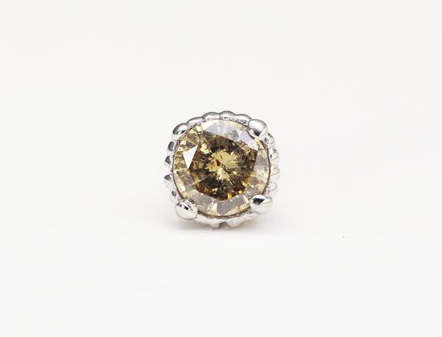 ◯ダイヤモンドパーチ◯天然ダイヤモンド〈シャンパンゴールドブラウンカラー〉◯0.1ct◯PT900