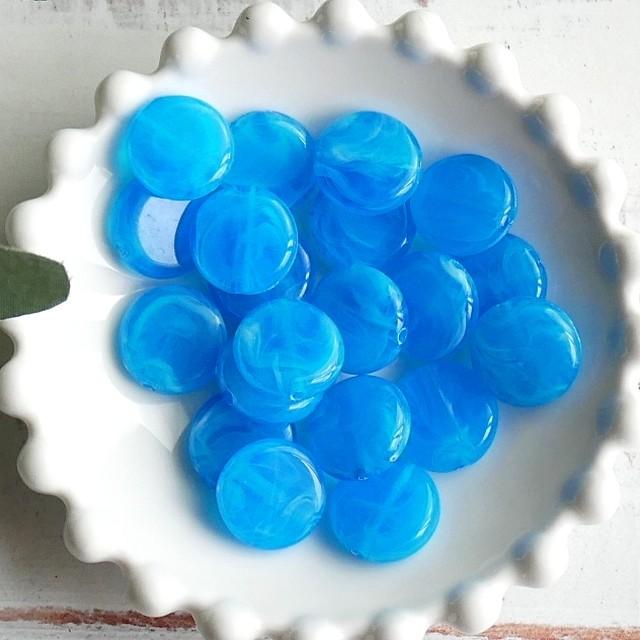 【454b-p2】4pcs  ストーン調 コイン アクリルビーズ L.ブルー 15×4.5mm