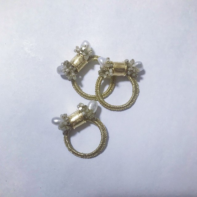 【Crochet Ring】Twins Pearl -Gold-
