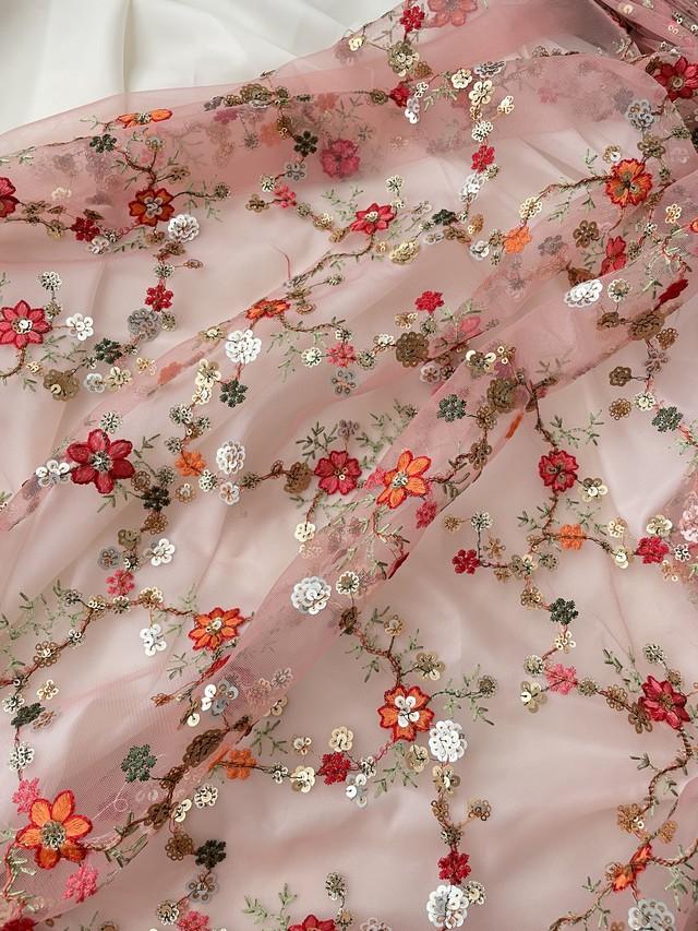 インド刺繍布チュールスパンコールピンク【100cmカット済】