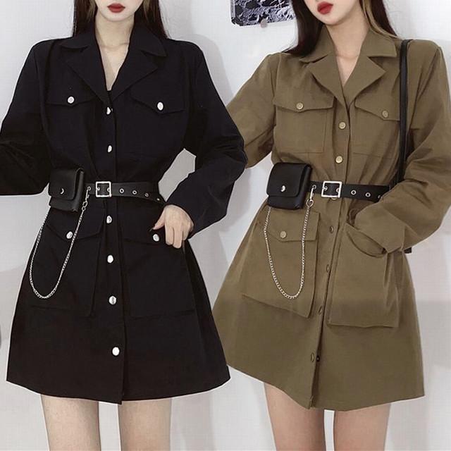 ワンピース ベルト付き ポケットチェーン ジャケット風 韓国ファッション レディース シングルブレスト ハイウエスト ガーリー / Black suit collar touring waist dress (DTC-624889485862)