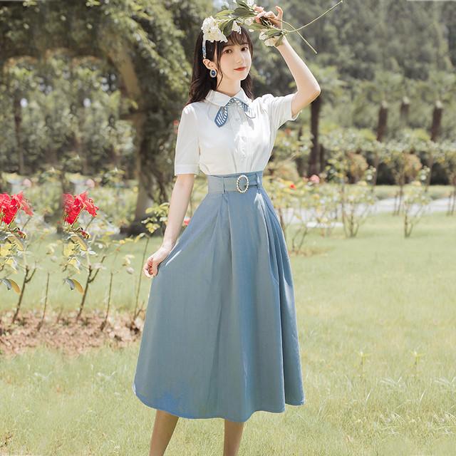 【華莎之城シリーズ】★セットアップ★ シャツ+スカート 半袖 通勤 デート レトロ 上下セット 白い 青い