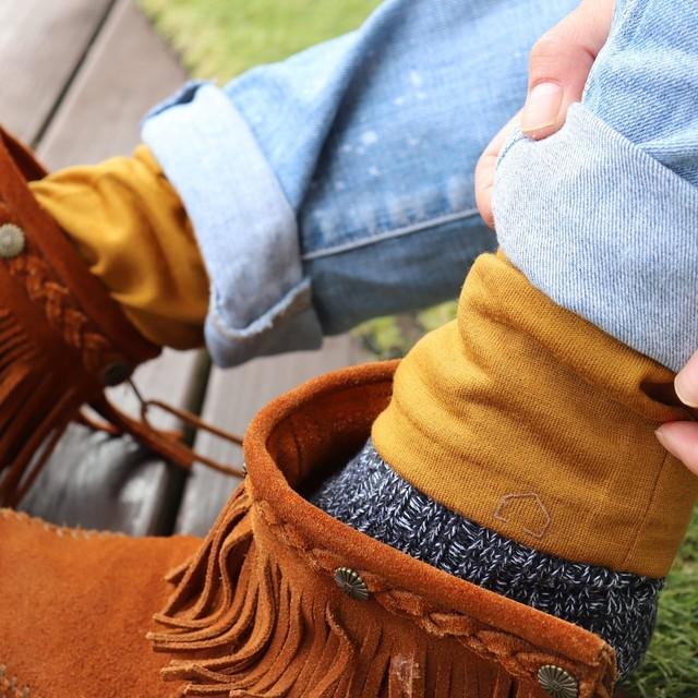 佩×ケノコト【レッグウォーマー】かぼちゃ/ウール100%/足首の冷え取りに/足元の差し色に