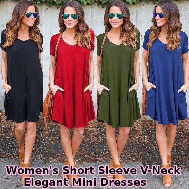 ワンピース Tシャツ 半袖 トップス レディース / Women's Short Sleeve V-Neck Elegant Mini Dresses Sleeved Dress (SKU:18WD124)