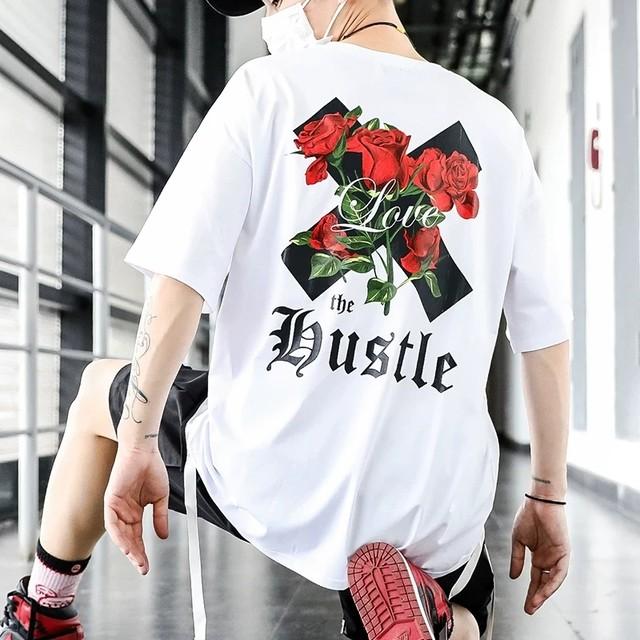 【トップス】ペアルック薔薇図柄ストリート系Tシャツ29696628
