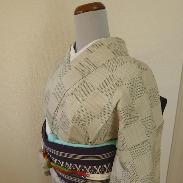 正絹紬 白地に緑の市松模様 胴抜