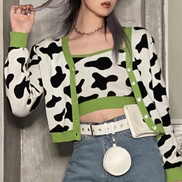 牛柄レトロカーディガン&ビスチェセット(全1色) / HWG452