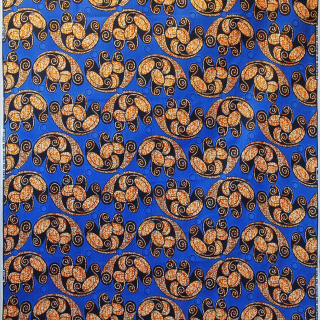 アフリカ布|ブルー × オレンジ / アフリカンプリント / パーニュ / キテンゲ