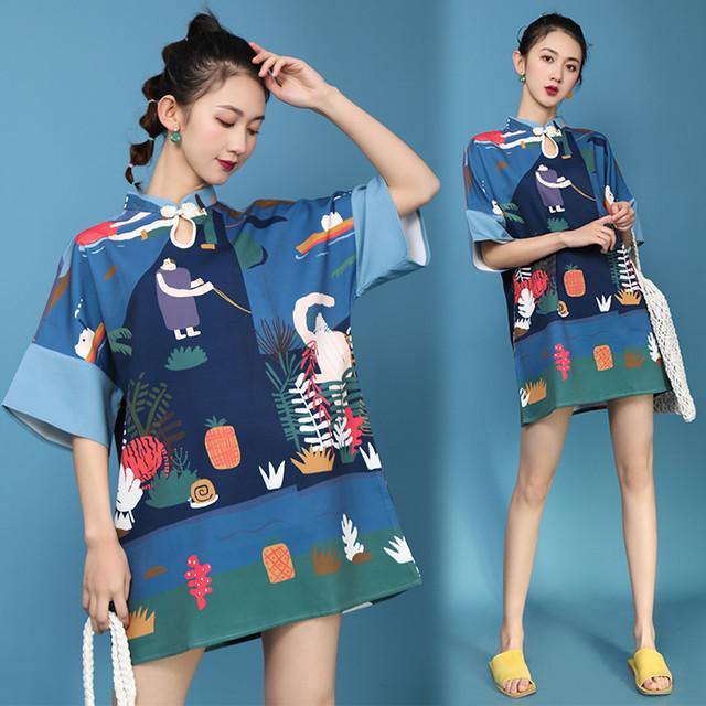 チャイナ風ワンピース チャイナドレス ゆったり ブルー 青い プリント S M L LL ショート丈