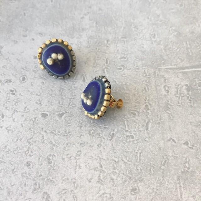 【終了】matte美濃焼タイル(瑠璃)×レースフラワーの耳飾り