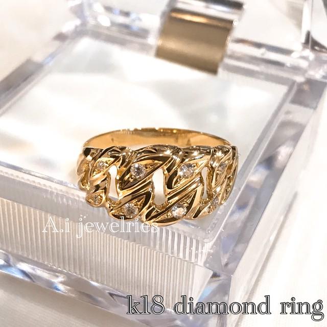 k18 18金 天然石 天然 ダイヤモンド リング  喜平 デザイン / k18 Kihei design ring