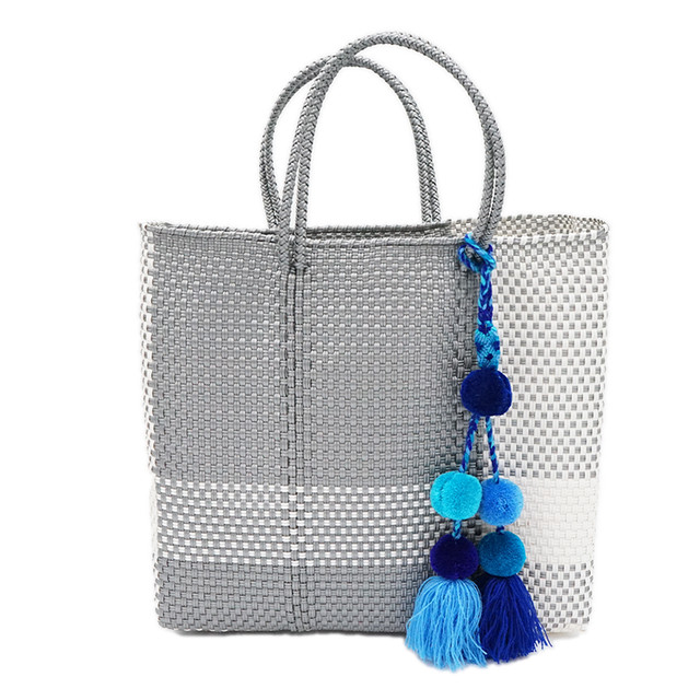 MERCADO BAG CROSS LINE with POMPON - Silver x White(M) with BLUE MIX