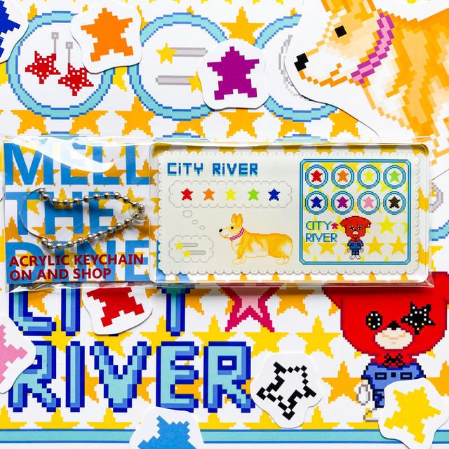 ショップアクリルキーホルダー CITY RIVER オンちゃんの星ほしスターショップ柄