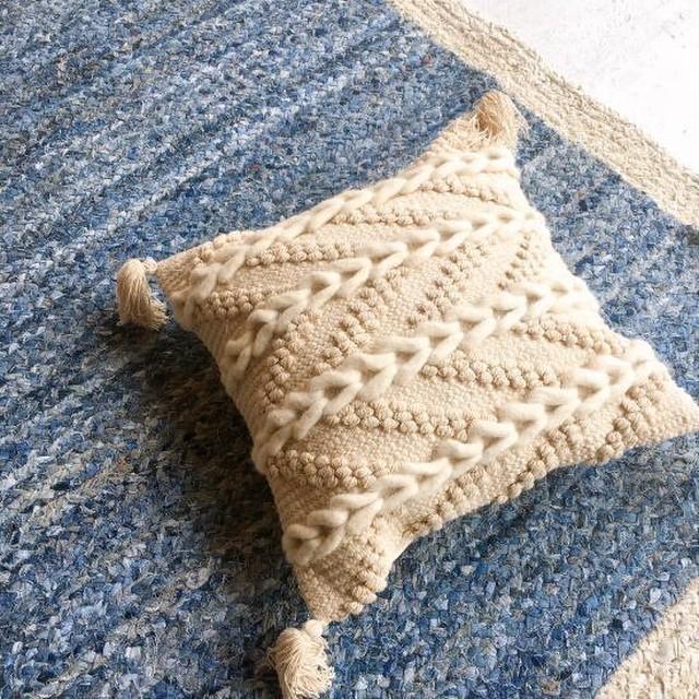 TOPANGA Homefurnishing 手織りのクッションカバー フリンジ 45×45cm