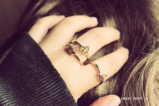 3 Dainty Geometric Detailed Rings