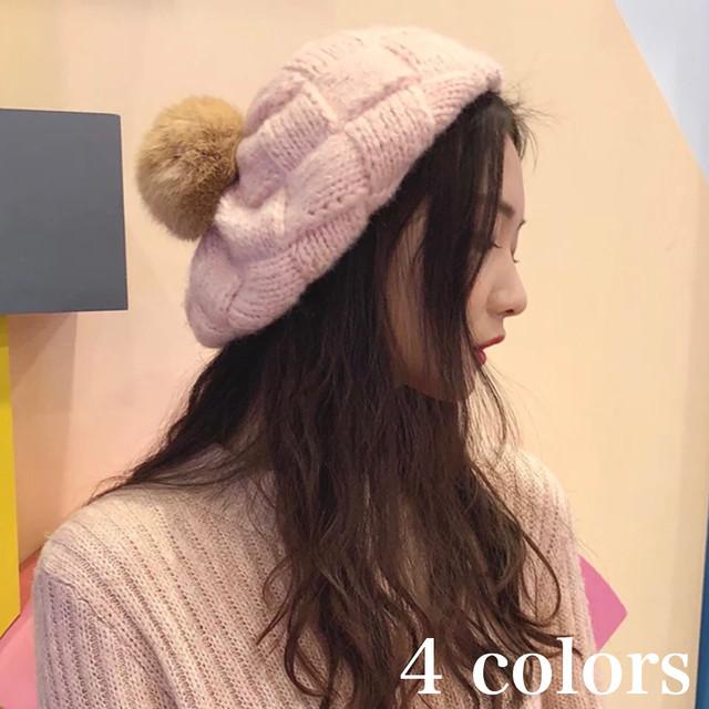 ニット ベレー帽 帽子 レディース 秋 冬 物 オルチャン ファッション 可愛い ガーリー ボンボン 10代 20代 AC-0010