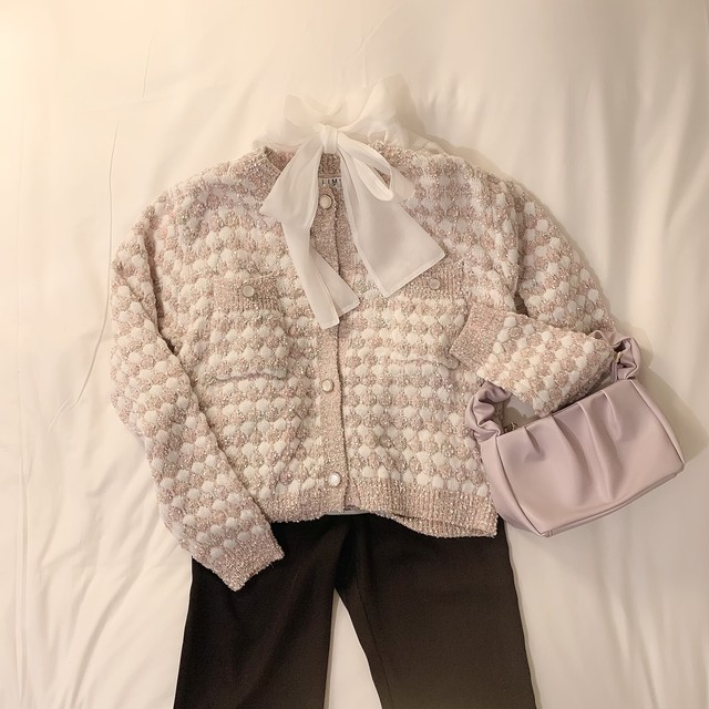 colour tweed cardigan(Pink)