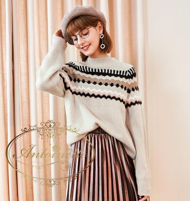 ニットセーター 長袖 レディース チュニックセーター 無地 韓国ファッション 秋冬 大きいサイズ ゆったり 大人 女性 フェミニン シンプル ニット トップス