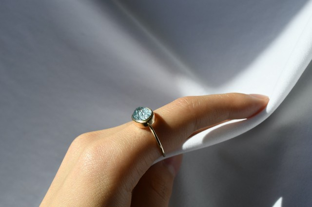 K10 Carving Blue Topaz Ring 10金カービングブルートパーズリング
