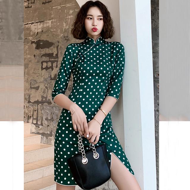 ミニ丈チャイナドレス ドット柄チャイナドレス チャイナ風ワンピース チャイナ風服 中華服 二次会 女子会 同窓会 スタンドネック 五分袖 大きいサイズ S M L LL 3L 4L 可愛い グリーン 緑