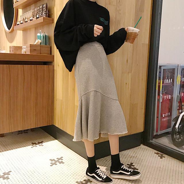 【bottoms】ファッション無地合わせやすい不規則マーメイドスカート
