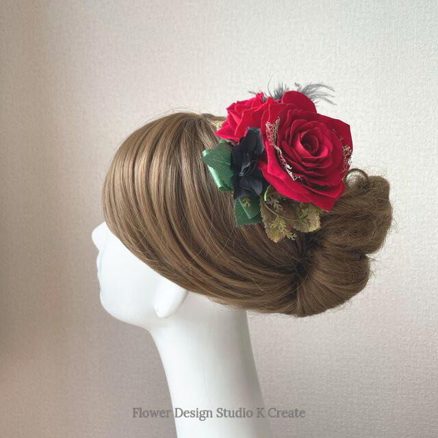 フラメンコ・フローレス・発表会に♡赤い薔薇とブラックファーのヘッドドレス  ダンス髪飾り 発表会 フラメンコ 社交ダンス