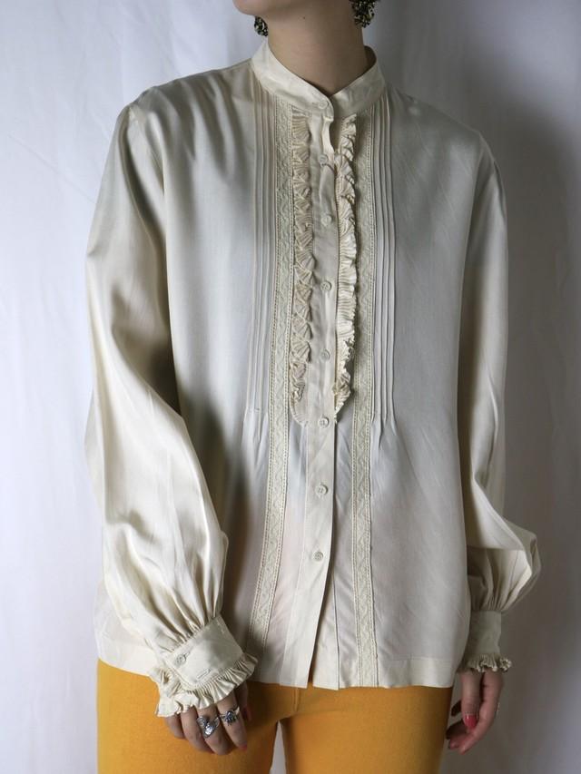 silk frill blouse【5573】