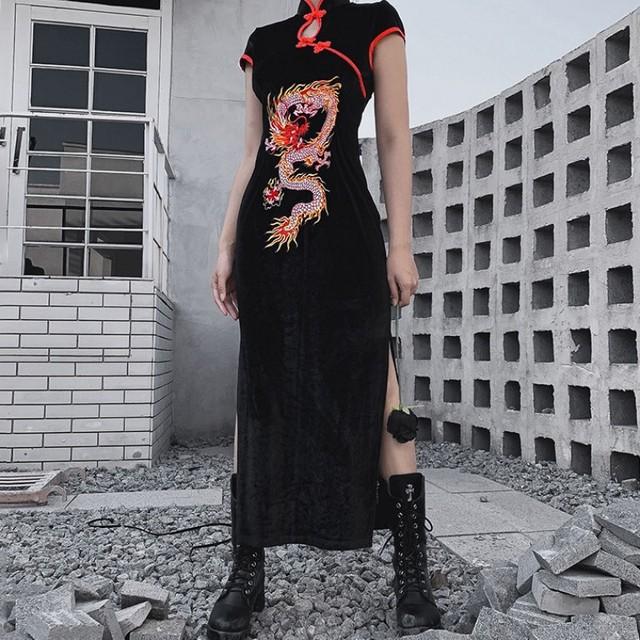 ロング丈チャイナドレス 半袖 ワンピース 中華服 演出服装 S M L ブラック 黒い 龍 着痩せ