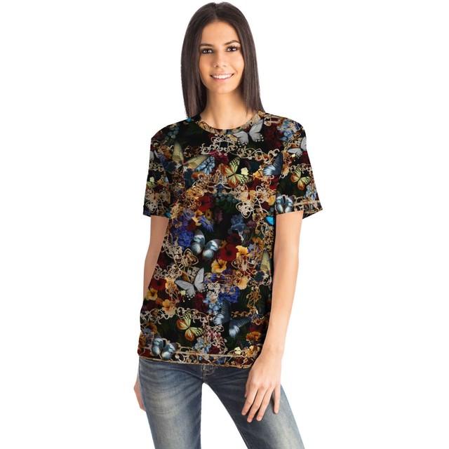 華と蝶 Black ユニセックスTシャツ