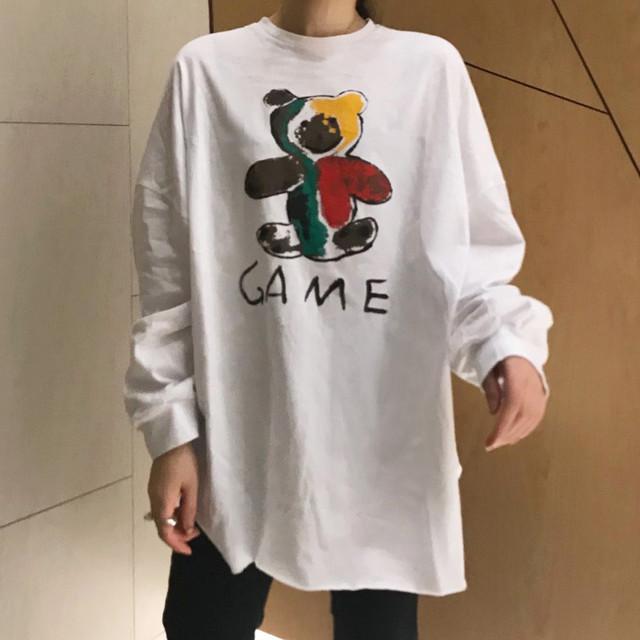 プリント長袖ロングTシャツ