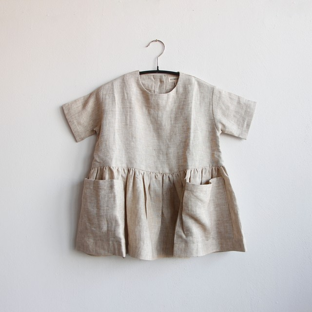 《AS WE GROW 2020SS》Pocket dress short sleeve / beige