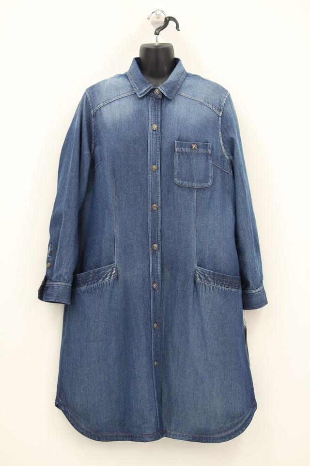 デニム×薄ダウンのシャツコート