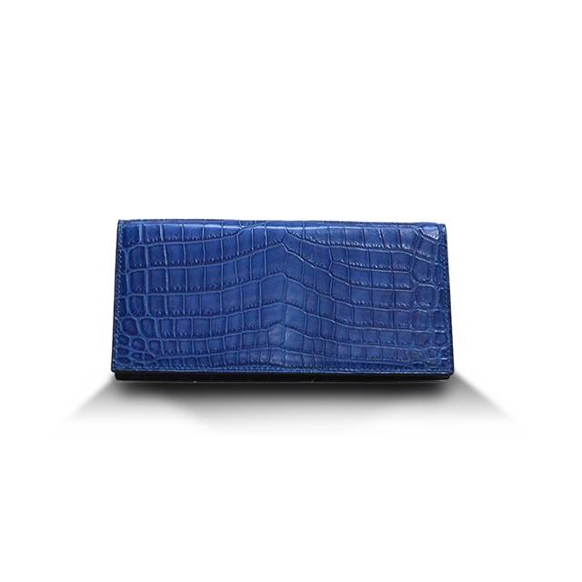 クロコダイル マット ハンドステッチ ロングウォレット(小銭入れ付き) 藍染
