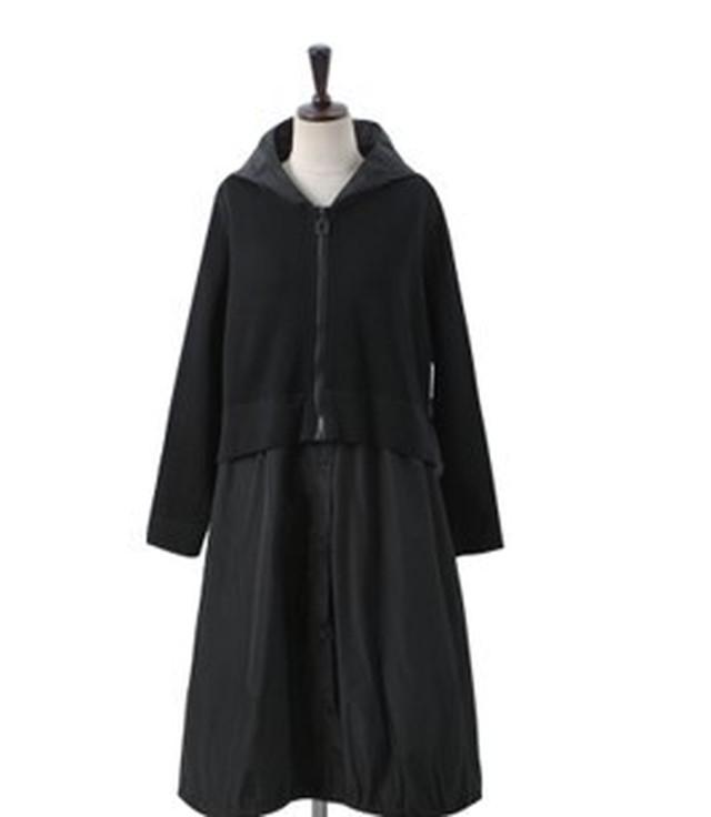 【アパレル・アウター】スウェット+シャツ ドッキング風 アウター・ブラック