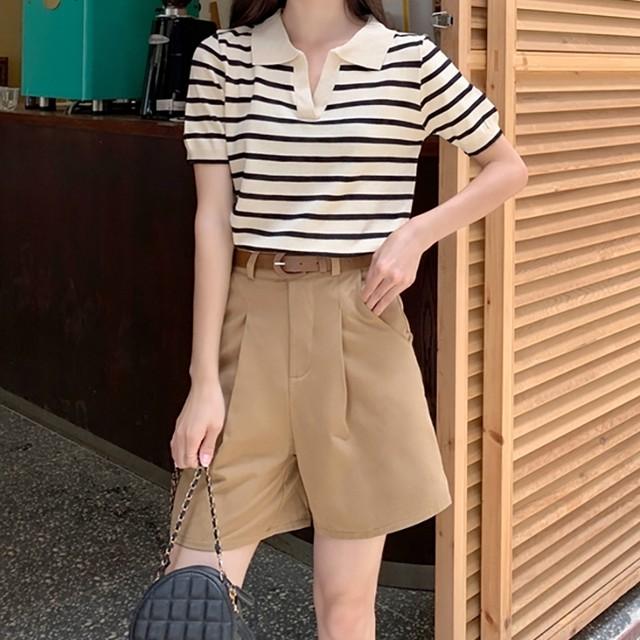【セットアップ】【単品注文】大人気売れ筋ストライプ半袖tシャツ+シンプル合わせやすいショートパンツ上下セットアップ46045783