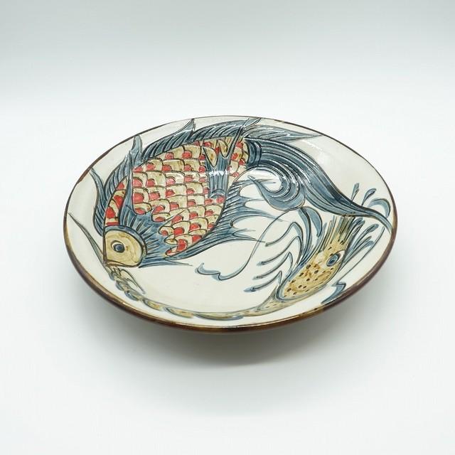 繁栄と長寿の象徴 線彫り魚紋&海老紋 【金城陶器秀陶房】