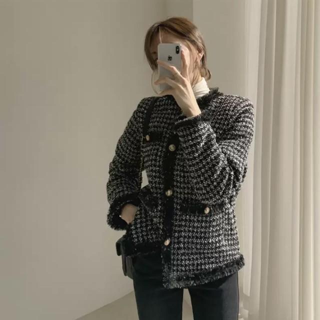 【冬物セール40%OFF】即日発送 チェック ツイード ジャケット アウター ブラック C0112