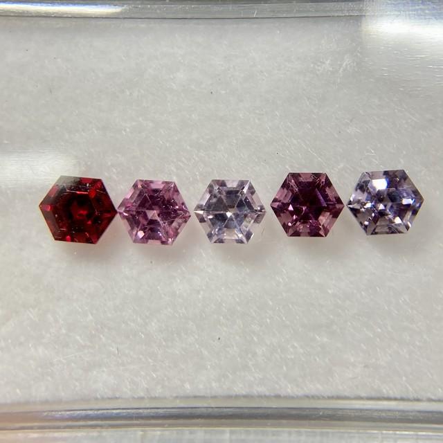 スピネル 6角形 5色セット 約3.5mm No.H5-6