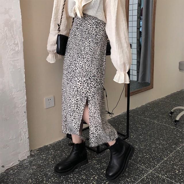 【送料無料】女子力高い♪レオパードスカート♡ボトム ヒョウ柄 スリット 女っぽ デート 女子会