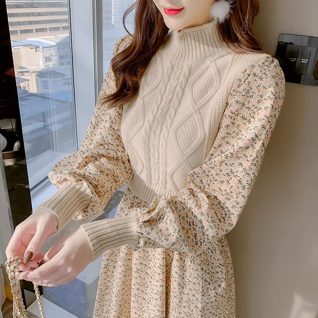 【ワンピース】ファッション長袖ラウンドネックAラインワンピース52392590