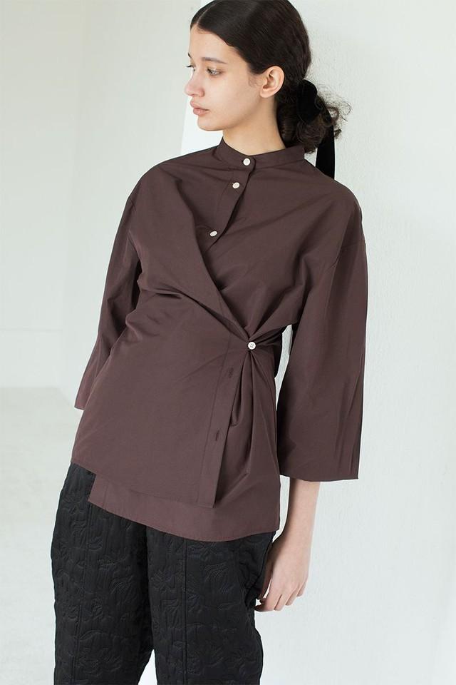 【LEINWÄNDE】 Pleats Sleeve Nocollar Shirts -BROWN 022103060870