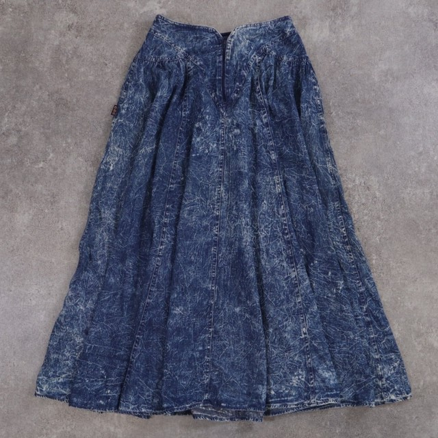 chemical wash vintage denim skirt