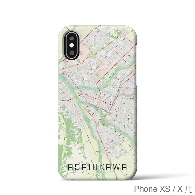 【旭川】地図柄iPhoneケース(バックカバータイプ・ナチュラル)