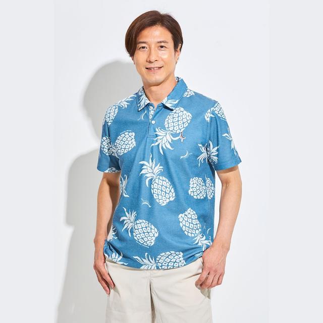 Tee-chi メンズ サンゴクロスポロシャツ <PAIKAJIコラボ パイナップルTee-chiくん2020><NAVY>