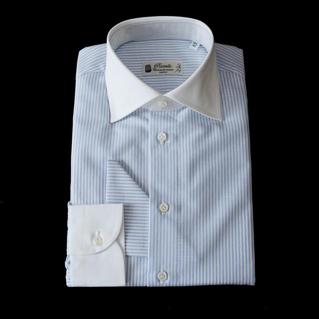 【SALE】Camiceria Piccirillo コットンリネン L/S ドレスシャツ 各サイズ - Striped