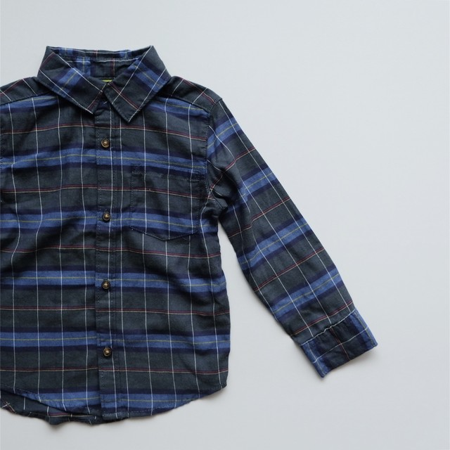 <US USED>Carter's Green Plaid Cotton Shirt size 3T