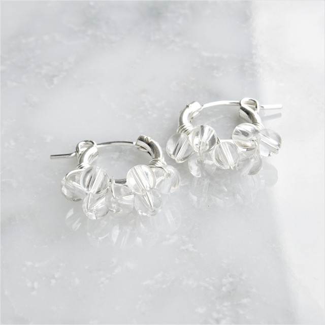 送料無料SV925SF*Crystal Quartz bubble wrapped pierced earring / earring S