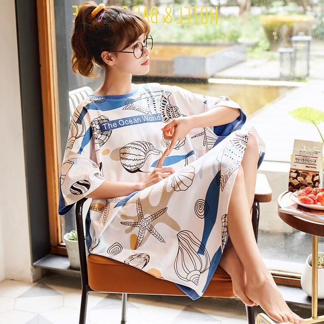 純綿薄半袖ネグリジェ コットン大きめサイズパジャマcollection No961
