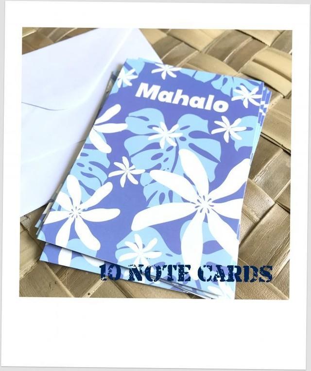 ハワイアンメッセージカード10枚セット♪monstera nui light blue
